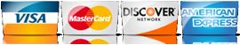We Accept Visa, Mastercard, Discover, Amex